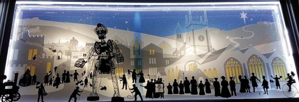 Christmas window display graphics for Hansford Bell, Tavistock