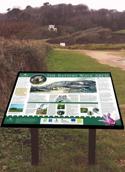 Interpretation panel at Aerhays, designed and supplied by Graphic Words of Tavistock.