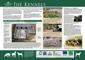 Interpretation panel for the kennels complex at Caerhays, by Graphic Words of Tavistock.