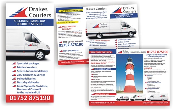Leaflet for Drake Couriers by Graphic Words of Tavistock