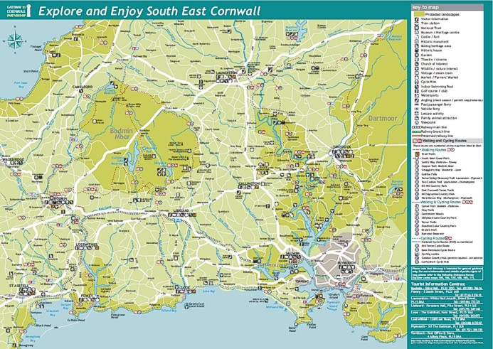 Map from the South East Cornwall Visitor Map & Guide - by Graphic Words of Tavistock