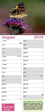 2019 calendar for The Garden House