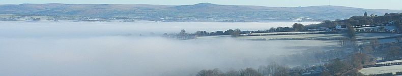 Mist hangs low over the Tamar Valley between Devon and Cornwall