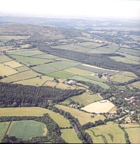 Aerial view of Deer Park Farm, where Graphic Words created interpretation materials for thye Education Centre