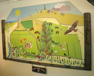 Gate-post style frame by Graphic Words for the map at Deer Park Farm Education Centre
