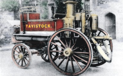 Historic photograph ofTavistock's fire engine, digitally hand-tinted by Graphic Words