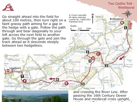 Sample map from the Two Castles Trail route guide  by Graphic Words