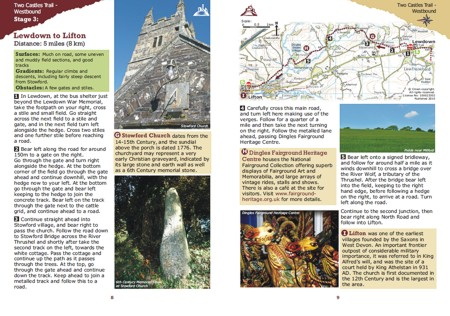 Sample two page spread from the Two Castles Trail Route Guide by Graphic Words