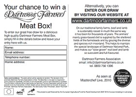 Dartmoor Farmers postcard promoting the meatbox scheme (reverse), designed by Graphic Words