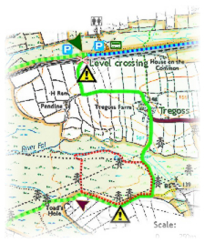 Goss Moor multi-use trail - part ofthe route map created on OS base layer by Graphic Words