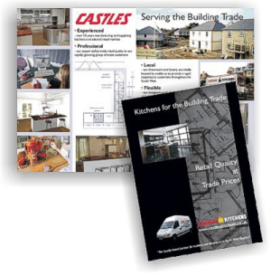 """Kitchens for the Building Trade"" brochure designed and printed  for Castles Kitchens by Graphic Words"