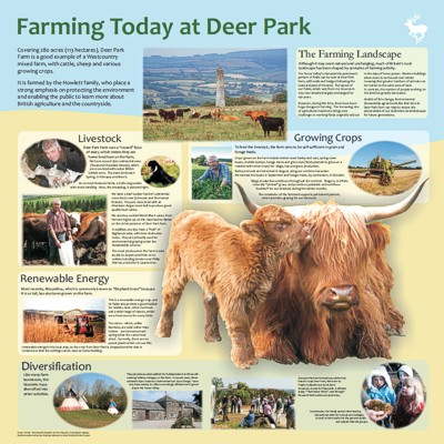 """Farming Today at Deer Park"" - interpretation panel by Graphic Words"