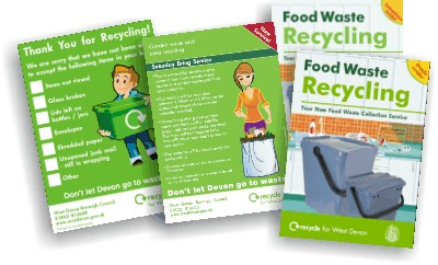 Some of the print materials produced for the West Devon recycling team.