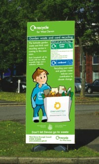 Pull up display panel produced for the West Devon Borough Council recycling team.