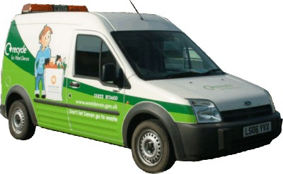 Vehicle liveries reflecting the Recycling message, designed for West Devon Borough Council