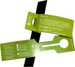 Tie on labels for Green Waste collection advisory notices, produced by Graphic words